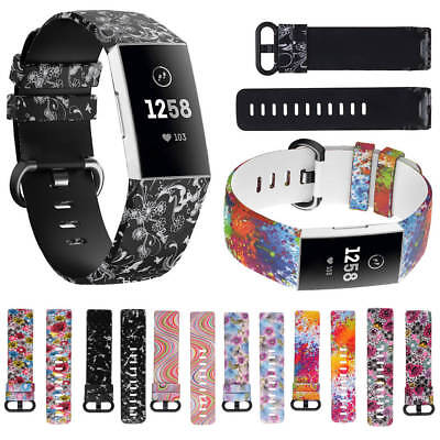 Replacement Silicone Floral Watch Band Strap For Fitbit Charge 3 Wristband L/S