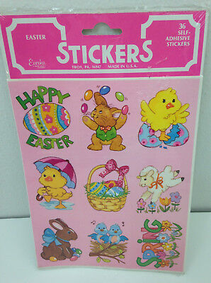 Vtg Eureka Easter Stickers Pink - Unopened Pack of 36 (4 Sheets) - New Old Stock