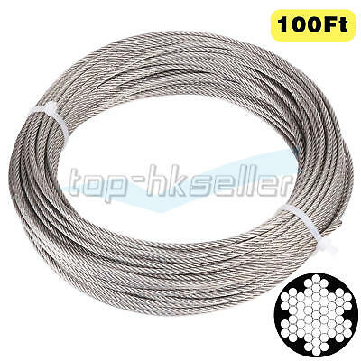 1/8 Inch T316 Stainless Aircraft Steel Wire Rope Cable for Railing Decking 100Ft