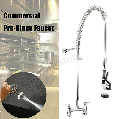 Wall Mounted Commercial Pull Out Pre-Rinse Kitchen Faucet Chrome Sink Mixer Tap
