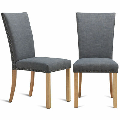 Set of 2 Armless Dining Chairs Fabric Upholstered Nailhead w/ Wood Leg Furniture
