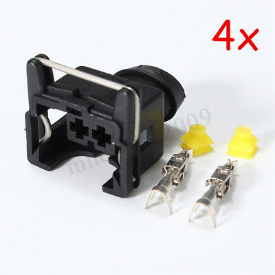 4x EV1 Female Fuel Injector Connectors With Crimp-on Pins For Volvo BMW VW Audi