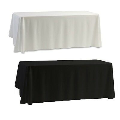 Black/White Tablecloth Wedding Party Table Satin Cloth Reception Desk Dust Cover