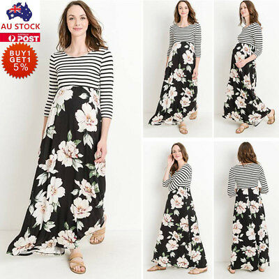 Women Pregnant Floral Striped Breastfeeding Dress Maternity Nursing Maxi Dress