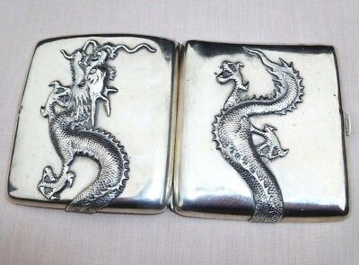 ANTIQUE SILVER CHINESE DRAGON CIGARETTE CHEROOT CASE / CALLING CARD BOX 102.7gm