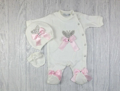 Baby Girls Romany Diamante & Bows Ivory & Pale Pink Babygrow 3 Piece Outfit