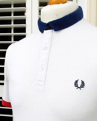 Fred Perry White Block Colour Slim Fit Polo - M - Ska Mod Scooter Casuals Skins