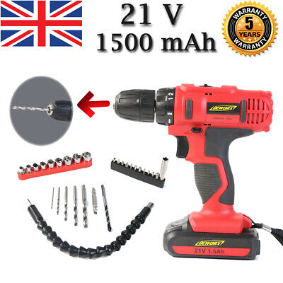 21V Industrial Cordless Drill Driver Set Combi Lithium Screwdriver LED Worklight