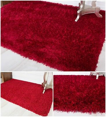 Cosy Thick Soft Red Shaggy Rug Fluffy Wine Christmas Non Shed Living Room Mats