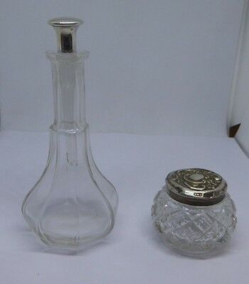 Antique J & R Griffin Silver Topped Perfume Bottle and HWL Dressing Pot