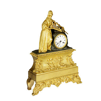 Table Clock Gilded Bronze Manufactured in France Mid 19th Century