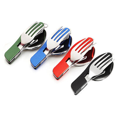 Outdoor Compact Foldable Spoon Fork 3 in 1 Utensil Set Travel Camping Practical