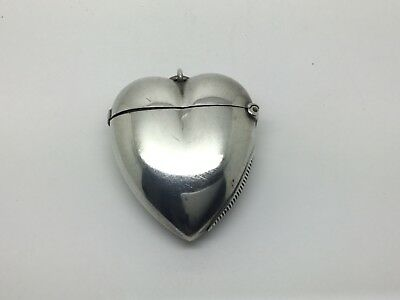 Sterling Silver Heart Shaped Chatalaine Vesta Case 1894  Victorian