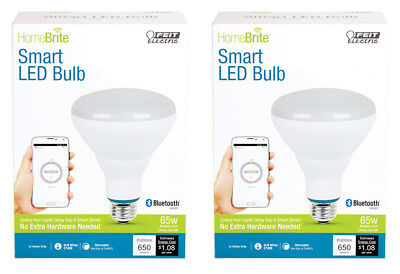 NEW! FEIT Electric HomeBrite Smart LED Bulb BR30 9 Watts Equals 65-Watts 2-Pack!