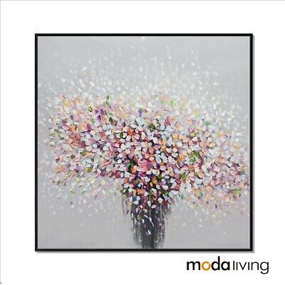 New Hand Painted Oil Painting Framed Modern Abstract Canvas Wall Art Flowers