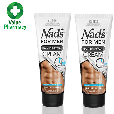 2 x  Nad's Body Hair Removal Cream For Men Hair Removal Cream Body 200ml