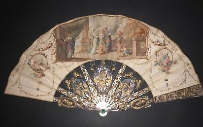 Great Antique 18Th French Carved Mother Of Pearl Gold Inlay Painted Scene Fan