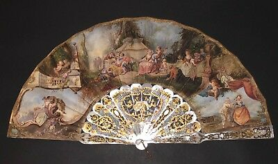 Superb Antique French Carved Mother Of Pearl Gold Inlay Hand Painted Rococo Fan
