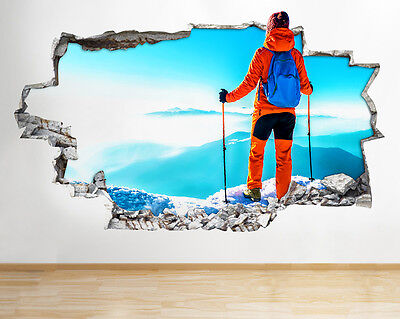 R442 Skiing Mountain Scenic Living Smashed Wall Decal 3D Art Stickers Vinyl Room