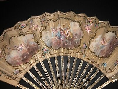 Antique French 18Th Filigree Carved Gold Inlay Hand Painted Cherubs Scene Fan
