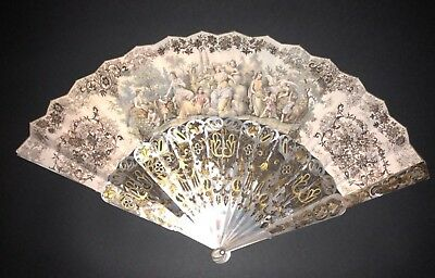 Fine Antique French Victorian Carved Mother Of Pearl Gold Gilt Figural Scene Fan