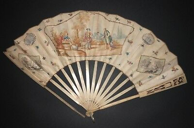 Fine Antique 18Th French Or Dutch Carved Sticks Hand Painted Scene Landscape Fan