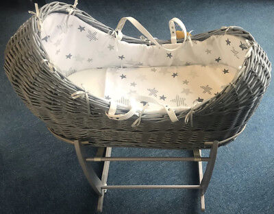 New Cuddles collection baby pod grey starlight with clair grey rocking stand