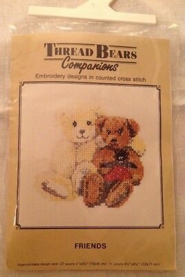 THREAD BEARS FRIENDS COUNTED CROSS STITCH KIT TEDDY BEARS part completed