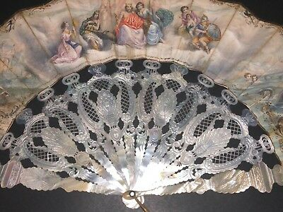 Superb Rare Antique French Carved Mother Of Pearl Peacock Sea God Figural Fan