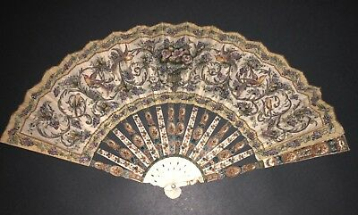 Great Antique French Flowers Carved Hand Painted Embroidered Birds Silk Leaf Fan