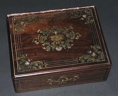 Antique French Rose Wood Mother Of Pearl Metal Inlay Boulle Style Box Casket