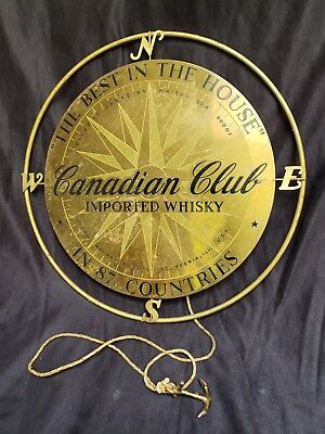 "Canadian Club Whiskey 14"" Metal Advertising Sign Compass Rose & Anchor Sailing"