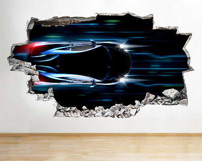Q797 Sports Car Red Cool Bedroom Smashed Wall Decal 3D Art Stickers Vinyl Room