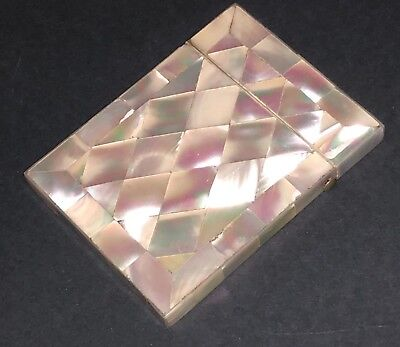 Fine Antique Victorian Mosaic Carved Mother Of Pearl Card Case Box