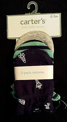 NWT-Carter's Little Baby Basics Mittens/3-Pack/Rockets-Space/Navy-Teal-Gray/Boys