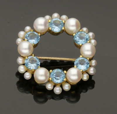 Vintage 9Ct Yellow Gold Blue Topaz & Pearl Brooch - 1992