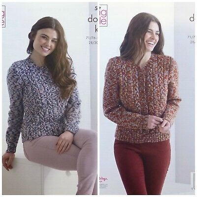f6b5318b032329 KNITTING PATTERN Ladies Long Sleeve Cable Cardigan   Jumper DK King Cole  5132