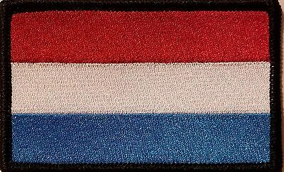 Luxembourg Flag Patch With VELCRO Brand Fastener Emblem BLACK Border