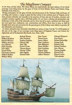 Postcard The Mayflower Compact Plymouth Colony shiip Massachusetts HIS116