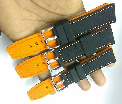 LOT OF 3pc SILICONE RUBBER WATCH BAND GOOD QUALITY  20MM-22MM-24MM  BAND
