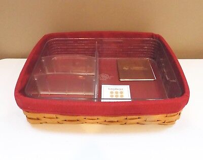 Longaberger 2008 Letter Tray With 4 Pc Protector Set & Paprika Fabric Liner