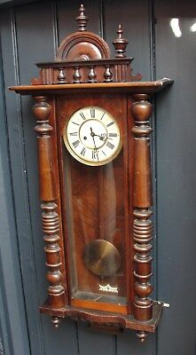 1880s VICTORIAN VIENNA WALL CLOCK with its TOP PEDIMENT in GOOD WORKING CONDT