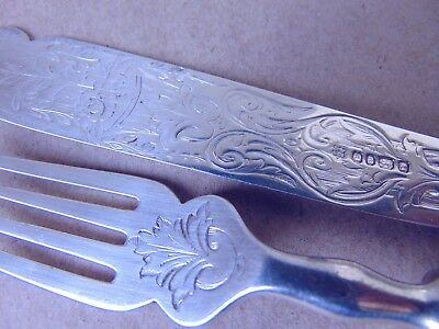 Pretty Victorian Sterling Silver Scroll Leaves Fish Set Knife & Fork 1865