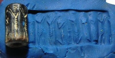 Zurqieh - As8611- Ancient Holy Land. Canaanite Stone Cylinder Seal. 1400 B.c