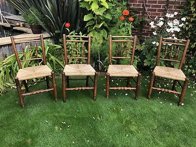 Antique 19th Century Elm And Rush Dining Chairs X 4.  Country House Chair