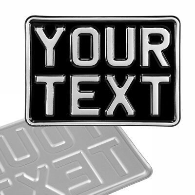 7x5 Novelty black and silver Kids Car motorcycle pressed number plate text metal