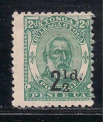 TONGA  1893 surch  21/2d on 2d green  SG20  MM  (fraction bar omitted?)