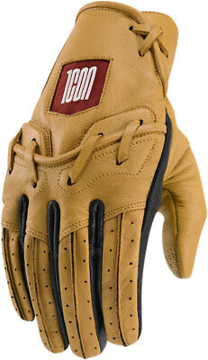 Icon 1000 BASERUNNER Leather Riding Gloves (Tan) Choose Size