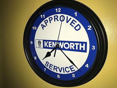 Kenworth Semi Truck Rig Driver Approved Service Garage Wall Clock Sign