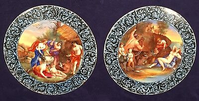 Pair Of Important Antique Hand Painted Enamel On Metal Disc Or Plate